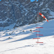 Windsock and snow level meter — Stockfoto