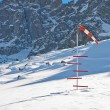 Windsock and snow level meter — Stock fotografie
