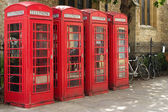 Red telephone boxes in Cambridge, UK — Stock Photo