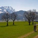Nordic walking in Swiss Alps — Stock Photo #1803417