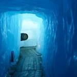 Tunnel in the ice inside Rhone glacier — Stock Photo