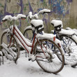 Two bikes covered with snow - Stock Photo