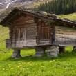 Wooden mountain hut with a stone roof - Stock Photo