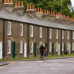 Row of characteristic english houses — Stock Photo