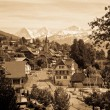 Vintage photo of a Swiss village — Stock Photo