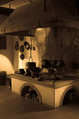 Vintage kitchen in the Castle Kyburg — Stock Photo