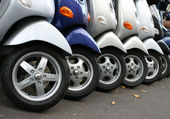 Row of motocycles on the street — Stock Photo