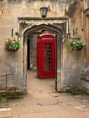 British telephone red box in Oxford, UK. — Stock Photo