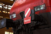 Locomotive in a repair workshop. — Stock Photo