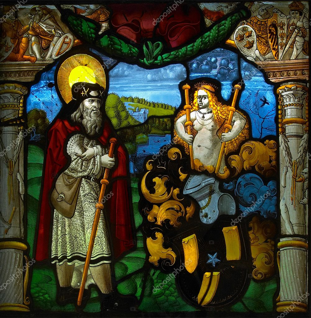 Stained-glass window in the gallery of Wettingen Abbey (Switzerland). — Stock Photo #1803508