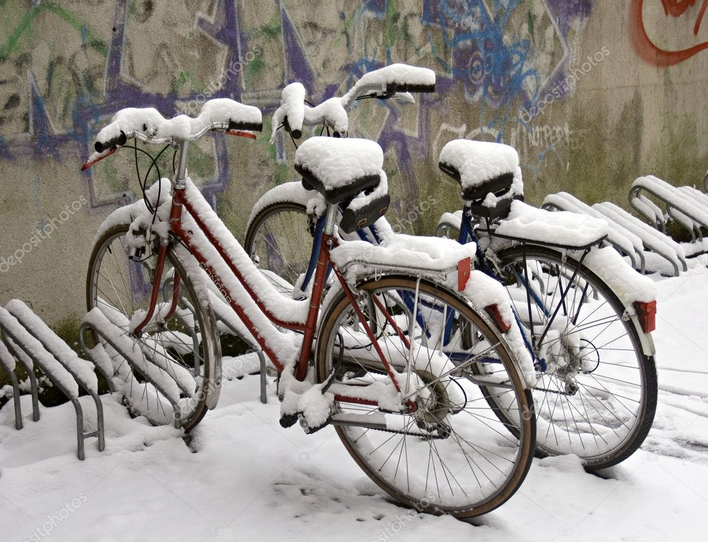 Two bikes covered with snow  Stock Photo #1803903