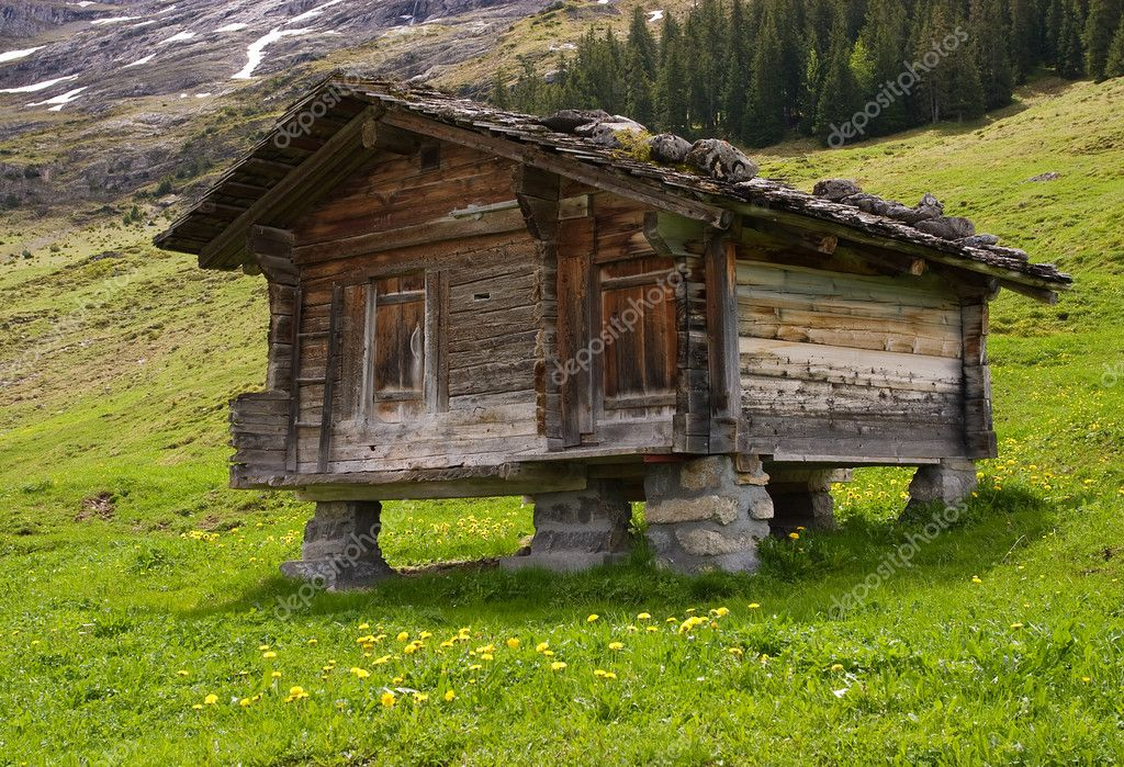 wooden hut near mountain - photo #39