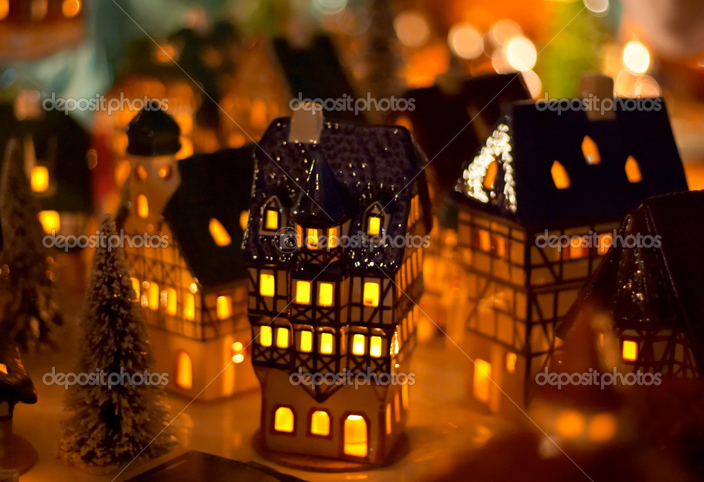 Christmas candle houses — Foto Stock #1805402
