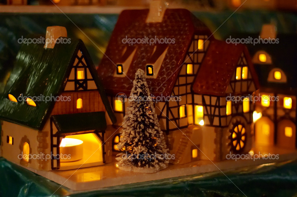 Christmas candle houses  Stock Photo #1805415
