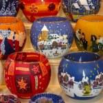 Colorful christmas candlesticks — Stock Photo