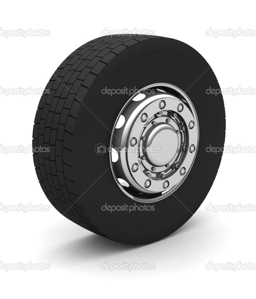 New Truck wheel on the blue background — Stock Photo #2009085