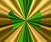 Big Green Bow on Gold Satin — Stock Photo