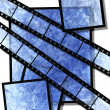 Blue film strip and film plates — Stock Photo