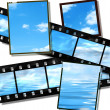 Film strip and film plates with horizon — Stock Photo #1788857