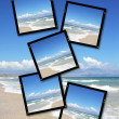 Film plates with summer sky and ocean — Stock Photo
