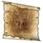 Rough antique parchment paper scroll — Stock Photo