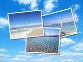 夏のビーチの画像のコラージュ — ストック写真