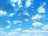 Music notes and bubbles on sunny sky — Stock Photo