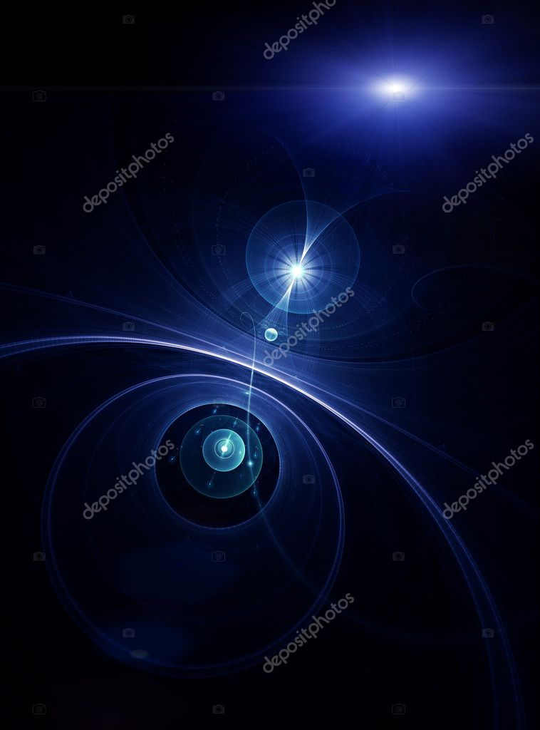 Across the universe, blue planet with rays of light          — Stock Photo #1787375
