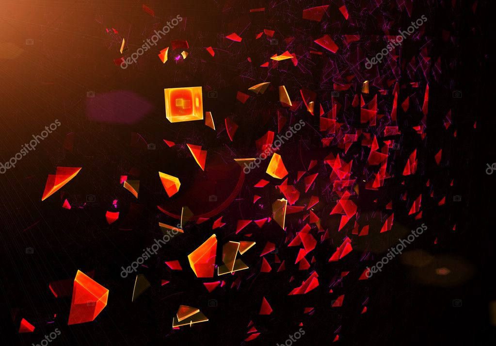 Explosion, broken glass, scattered particles, abstract illustration — Stock Photo #1787498