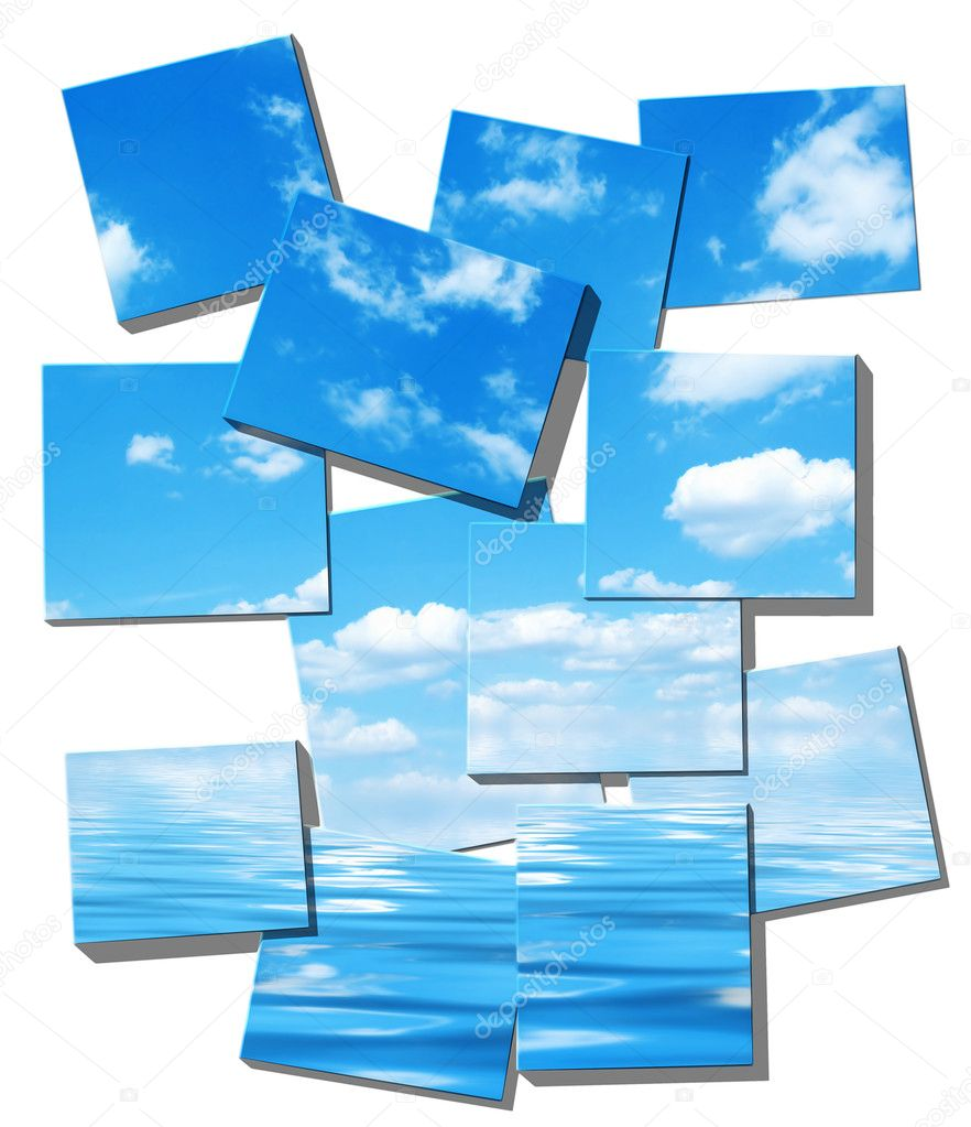 Scattered tiles composition, summer sky and ocean image on white background,  Stok fotoraf #1789390