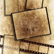 Film strip and film plates, grunge — Stock Photo