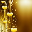 Golden background with hearts and stars - Stock Photo