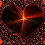 zářící srdce s paprsky — Stock fotografie