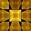 Golden cubic perspective — Stock Photo