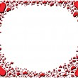 Red shiny hearts frame — Stock Photo