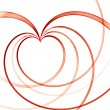 Valentines  red linear heart - Stock Photo