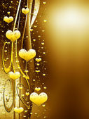 Golden background with hearts and stars — Stok fotoğraf