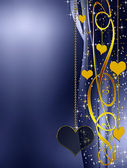 Golden and blue background with hearts — Stock Photo