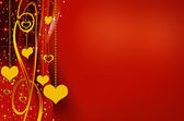 Golden and red backgrounds with hearts — Stock Photo