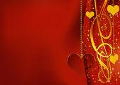 Sfondo rosso con cuore di vetro — Foto Stock