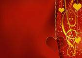 Red background with heart of glass — Stock Photo