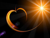 Shining heart with rays — Stock Photo