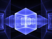 Blue cubic perspective — Stock Photo