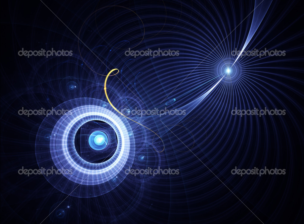 Abstract illustration of blue planet with rays of light and energy lines — Stock Photo #1799623