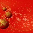 Red Christmas balls with snowflakes - Stock Photo