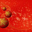 Red Christmas balls with snowflakes — Stock Photo