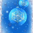 Ice blue Christmas bulbs with snowflake — Stock Photo