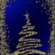 Starry Christmas tree on blue background — Stock Photo