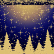 Golden Christmas trees  on blue - Stock Photo