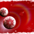 Christmas bulbs on red background - Stock Photo